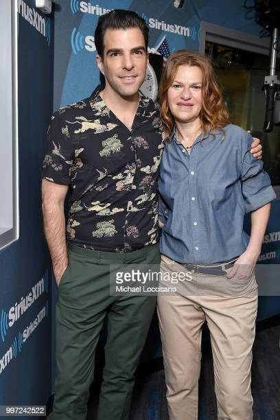 Actor Zachary Quinto visits Sandra Bernhard on her show 'Sandyland' at SiriusXM Studios on July 12 2018 in New York City