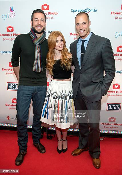 Actor Zachery Levi actress Katherine McNamara and Nigel Barker attend the Donate A Photo holiday kick off at The RitzCarlton New York Central Park on...