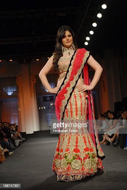 MUMBAI INDIA SEPTEMBER 16 Actor Zarine Khan at Indian Bridal fashion week 2012 at Grand hyatt kalina on September 16 2012 in Mumba India