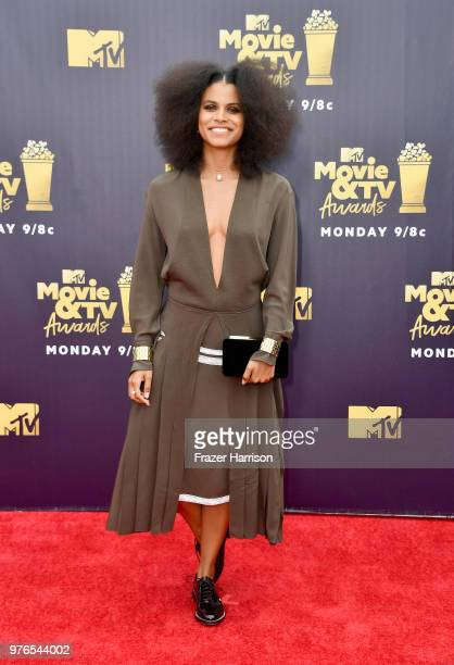 Actor Zazie Beetz attends the 2018 MTV Movie And TV Awards at Barker Hangar on June 16 2018 in Santa Monica California