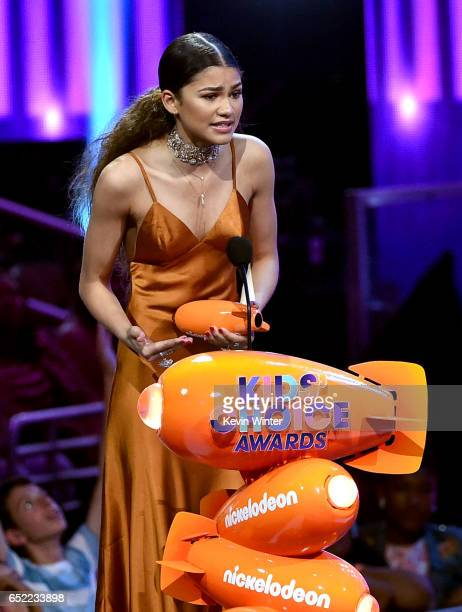 Actor Zendaya accepts the award for Favorite Female TV Star onstage at Nickelodeon's 2017 Kids' Choice Awards at USC Galen Center on March 11 2017 in...