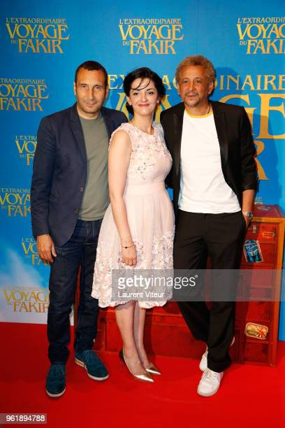 Actor Zinedine Soualem Actress Yamina Belarbi and Actor Abel Jafri attend 'L'Extraordinaire Voyage du Fakir' Paris Premiere at Publicis Champs...