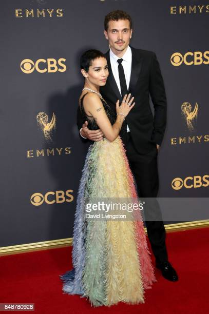 Actor Zoe Kravitz and Karl Glusman attend the 69th Annual Primetime Emmy Awards Arrivals at Microsoft Theater on September 17 2017 in Los Angeles...