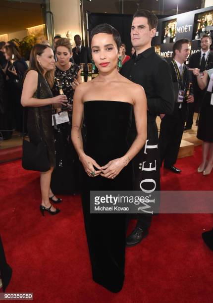 Actor Zoe Kravitz celebrates The 75th Annual Golden Globe Awards with Moet & Chandon at The Beverly Hilton Hotel on January 7, 2018 in Beverly Hills,...