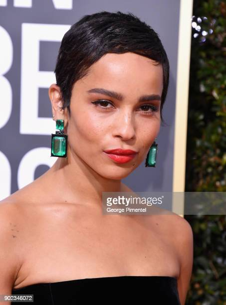 Actor Zoe Kravitz earring detail attends The 75th Annual Golden Globe Awards at The Beverly Hilton Hotel on January 7 2018 in Beverly Hills California