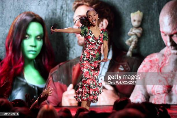 Actor Zoe Saldana appears onstage at Nickelodeon's 2017 Kids' Choice Awards at USC Galen Center on March 11 2017 in Los Angeles California