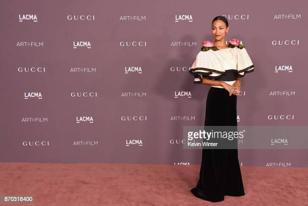 Actor Zoe Saldana attends the 2017 LACMA Art Film Gala Honoring Mark Bradford and George Lucas presented by Gucci at LACMA on November 4 2017 in Los...