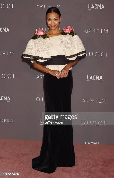 Actor Zoe Saldana attends the 2017 LACMA Art + Film Gala Honoring Mark Bradford and George Lucas presented by Gucci at LACMA on November 4, 2017 in...