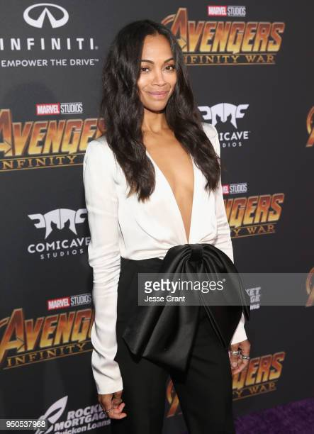Actor Zoe Saldana attends the Los Angeles Global Premiere for Marvel Studios' Avengers Infinity War on April 23 2018 in Hollywood California