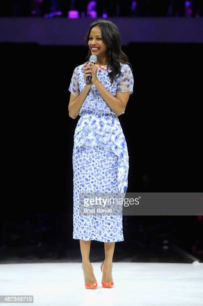 Actor Zoe Saldana speaks onstage at the 2014 AOL NewFronts at Duggal Greenhouse on April 29, 2014 in New York, New York.