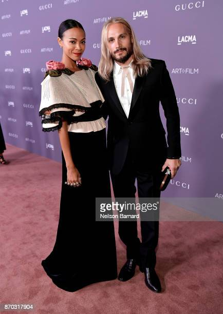 Actor Zoe Saldana, wearing Gucci, and artist Marco Perego attend the 2017 LACMA Art + Film Gala Honoring Mark Bradford and George Lucas presented by...