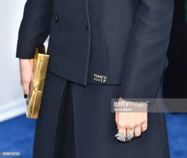 Actor Zoey Deutch fashion ring and Time's Up pin details attends the 2018 Film Independent Spirit Awards on March 3 2018 in Santa Monica California