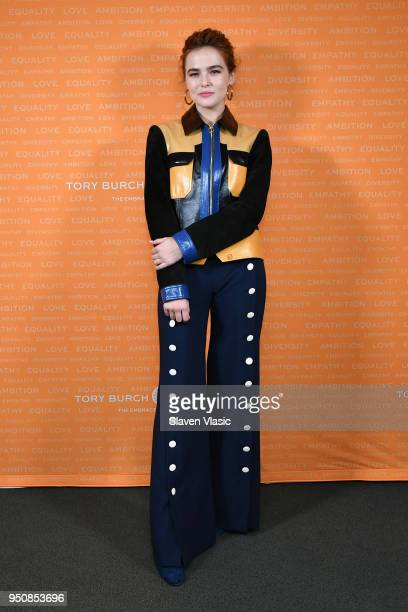 Actor Zoey Deutch speaks onstage during The Tory Burch Foundation 2018 Embrace Ambition Summit at Alice Tully Hall on April 24 2018 in New York City