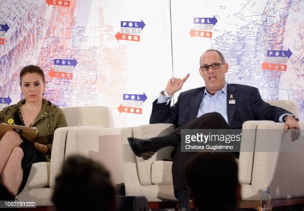 Actor/activist Alyssa Milano and activist Fred Guttenberg speak during Politicon 2018 at Los Angeles Convention Center on October 21 2018 in Los...