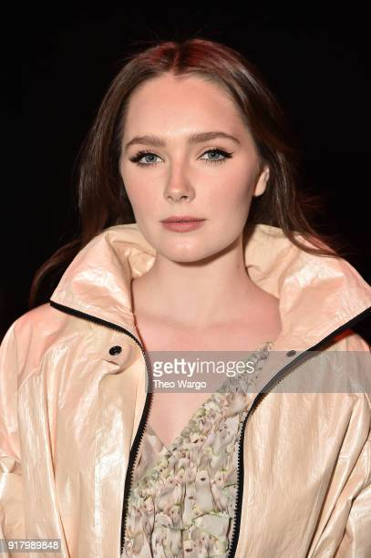 ActorAmy Forsyth attends the Vivienne Tam front row during New York Fashion Week The Shows at Gallery I at Spring Studios on February 13 2018 in New...