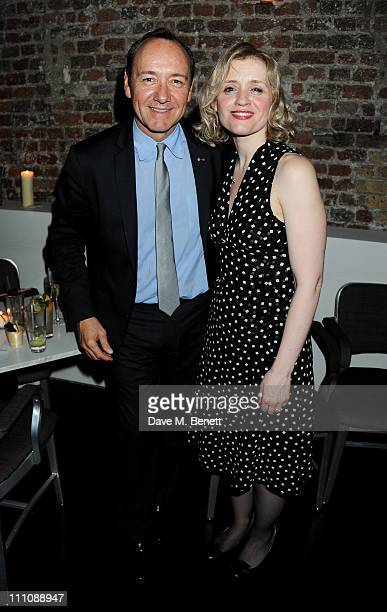 Actor/Artistic Director of The Old Vic Kevin Spacey and actress AnneMarie Duff attend the afterparty celebrating press night of 'Cause Celebre' at...
