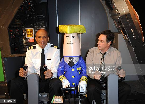 Actor/athlete Kareem AbdulJabbar and actor Robert Hays along with Otto the autopilot participate in the Airplane 30th Anniversary Reunion Press...