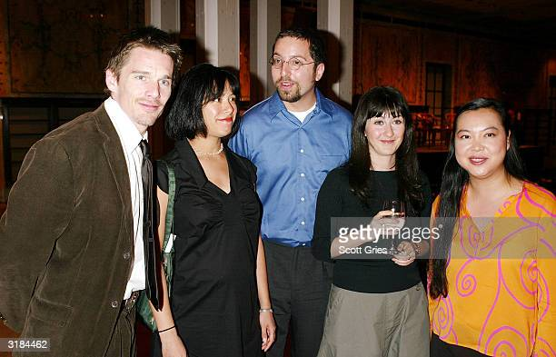 Actor/author Ethan Hawke with authors Susan Choi Jordan Ellenberg Lara Vapnyar and Monique Meloy attend the party to announce the winner of the Young...