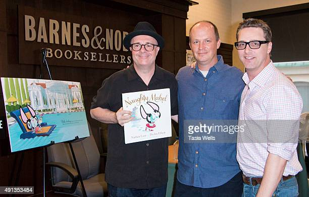 Actor/Author Nathan Lane illustrator Dan Krall and actor/author Devlin Elliott arrive at Nathan Lane's book signing of Naughty Mabel at Barnes Noble...