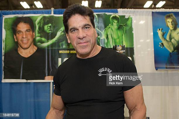 Actor/bodybuilder Lou Ferrigno attends day one of the Wizard World Austin Comic Con at the Austin Convention Center at the Austin Convention Center...