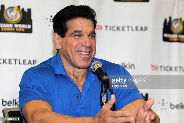 Actor/bodybuilder Lou Ferrigno speaks during the Wizard World Austin Comic Con at the Austin Convention Center on October 28 2012 in Austin Texas