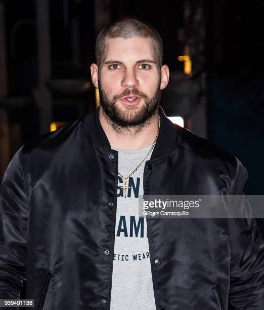 Actor/boxer Florian Munteanu is seen arriving to Zahav restaurant for a 'Creed II' cast dinner on March 28 2018 in Philadelphia Pennsylvania