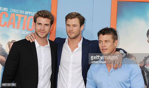 Actor/brothers Chris Hemsworth; Liam Hemsworth; Luke Hemsworth arrives at the Premiere Of Warner Bros. 'Vacation' at Regency Village Theatre on July...