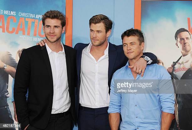 Actor/brothers Chris Hemsworth Liam Hemsworth Luke Hemsworth arrives at the Premiere Of Warner Bros 'Vacation' at Regency Village Theatre on July 27...