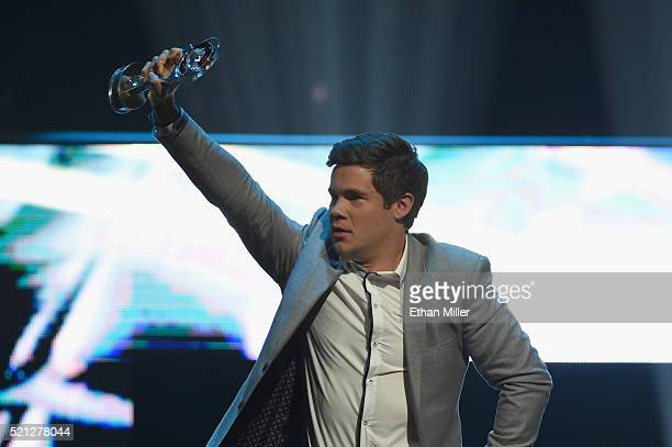 Actor/comedian Adam DeVine accepts the Comedy Stars of the Year Award during the CinemaCon Big Screen Achievement Awards brought to you by the...