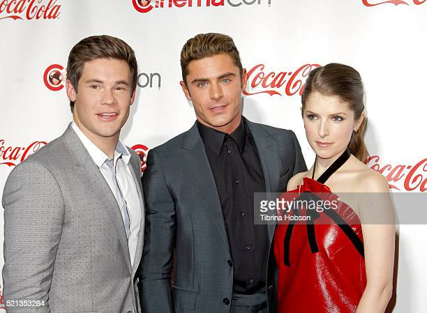 Actor/comedian Adam DeVine actor Zac Efron and actress Anna Kendrick recipients of the Comedy Stars of the Year Award attend the CinemaCon Big Screen...
