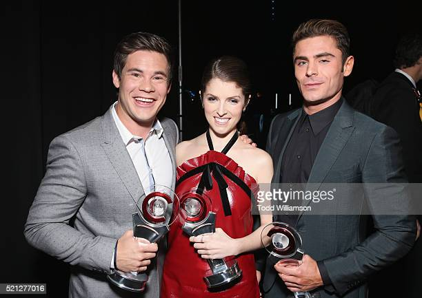 Actor/comedian Adam DeVine actress Anna Kendrick and actor Zac Efron accept the Comedy Stars of the Year Award during the CinemaCon Big Screen...