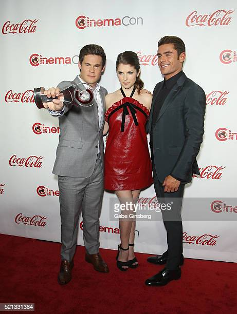 Actor/comedian Adam DeVine actress Anna Kendrick and actor Zac Efron recipients of the Comedy Stars of the Year Award attends the CinemaCon Big...