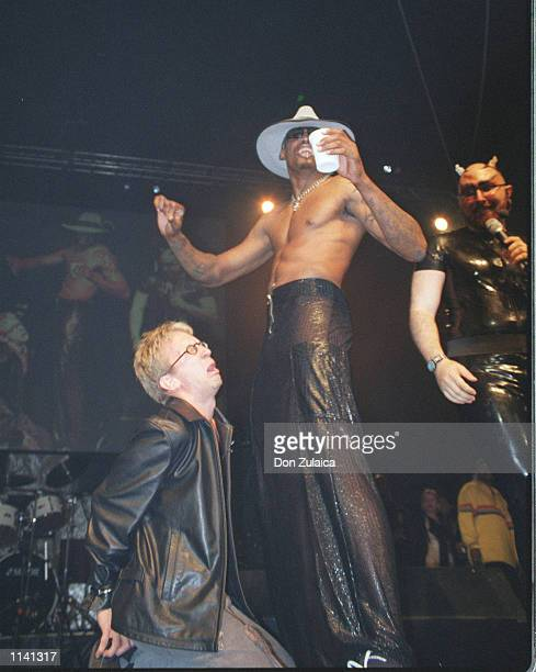 Actor/Comedian Andy Dick and former NBA badboy Dennis Rodman at the annual Exotic Erotic Ball October 1999 in San Francisco CA