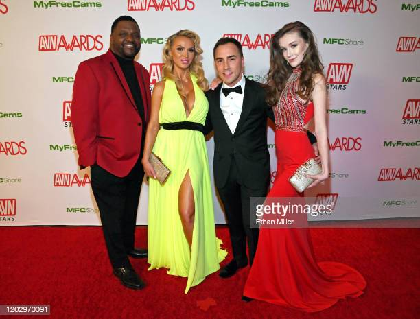 Actor/comedian Aries Spears adult film actress Nikki Benz AVN Media Network CEO Tony Rios and webcam model Emily Bloom attend the 2020 Adult Video...
