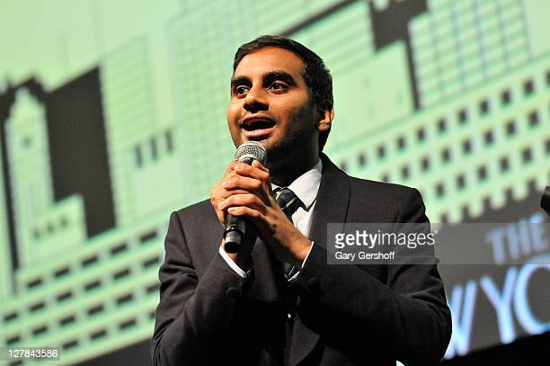 Actor/comedian Aziz Ansari performs on stage during the 2011 New Yorker Festival at SVA Theater 1 on October 1, 2011 in New York City.