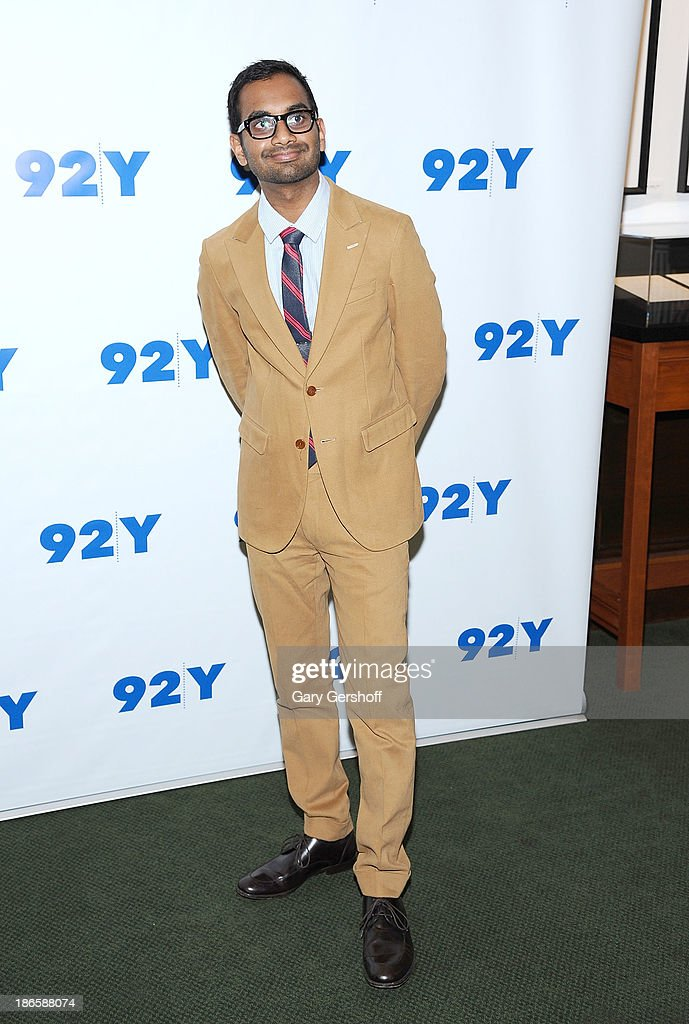 Actor/comedian Aziz Ansari poses before 'An Evening with Aziz Ansari and Brian Stelter' at 92Y on November 1, 2013 in New York City.