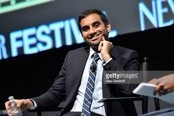Actor/comedian Aziz Ansari speaks with New Yorker contributing writer Kelefa Sanneh at the 2011 New Yorker Festival at SVA Theater 1 on October 1,...
