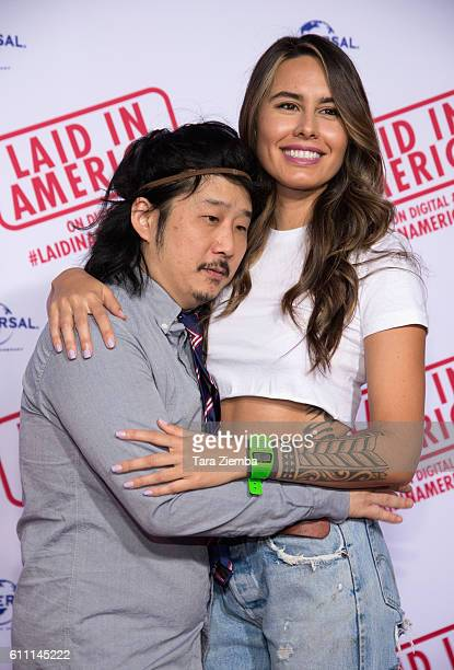 Actor/comedian Bobby Lee and wife Khalyla attend the premiere of 'Laid In America' at AMC Universal City Walk on September 28 2016 in Universal City...