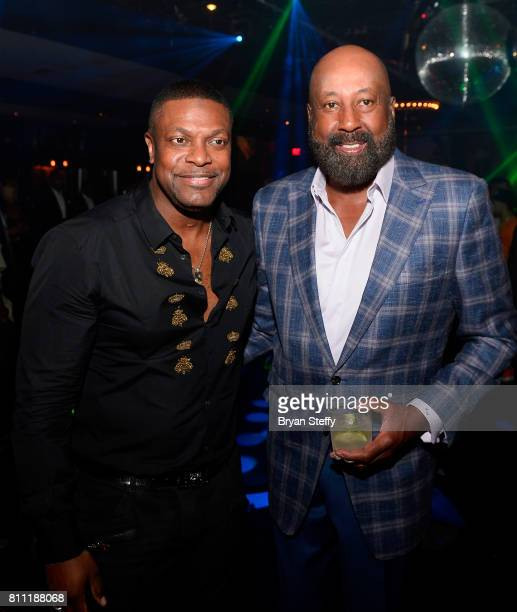 Actor/comedian Chris Tucker and Los Angeles Clippers Assistant Coach Mike Woodson attend the Coach Woodson Las Vegas Invitational red carpet and...