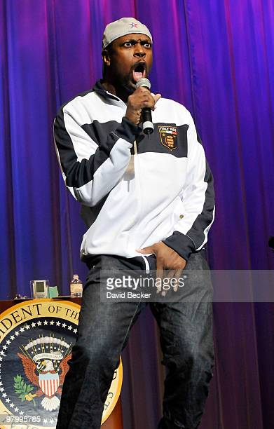 Actor/comedian Chris Tucker performs standup comedy as a guest of headliner George Wallace at the Flamingo Las Vegas March 23 2010 in Las Vegas Nevada