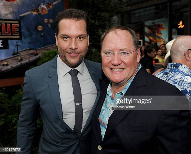 Actor/comedian Dane Cook and Pixar chief creative officer/Executive Producer John Lasseter attends the premiere of Disney's 'Planes Fire Rescue' at...