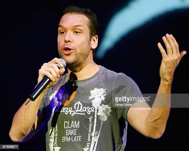 Actor/comedian Dane Cook performs during his 'Global Thermo Comedy Tour' at The Pearl concert theater at the Palms Casino Resort May 22 2009 in Las...