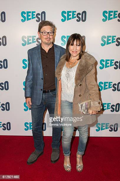 Actor/comedian Dave Foley and Crissy Guerrero arrive at the Seeso original screening of 'Bajillion Dollar Properties' season 2 at Ace Hotel on...