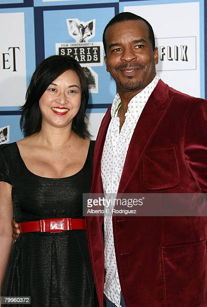 Actorcomedian David Alan Grier and wife Christine Y Kim arrive at the 2008 Film Independent's Spirit Awards held at Santa Monica Beach on February 23...