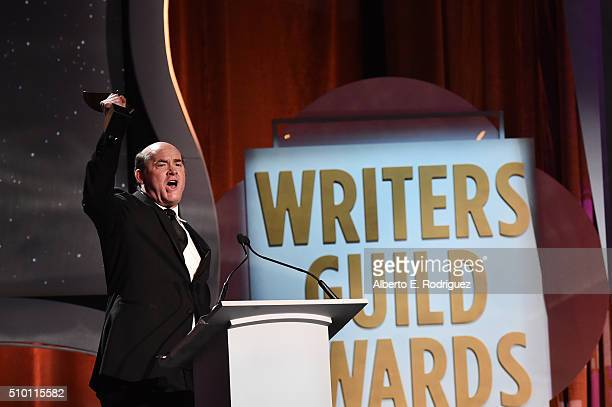 Actor/comedian David Koechner speaks onstage during the 2016 Writers Guild Awards at the Hyatt Regency Century Plaza on February 13 2016 in Los...