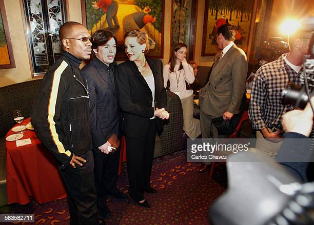 Actor–comedian Eddie Murphy actors Mike Myers and Julie Andrews at the release party of Shrek2 in Beverly Hills Tuesday Nov 9 2004 DreamWorks the...