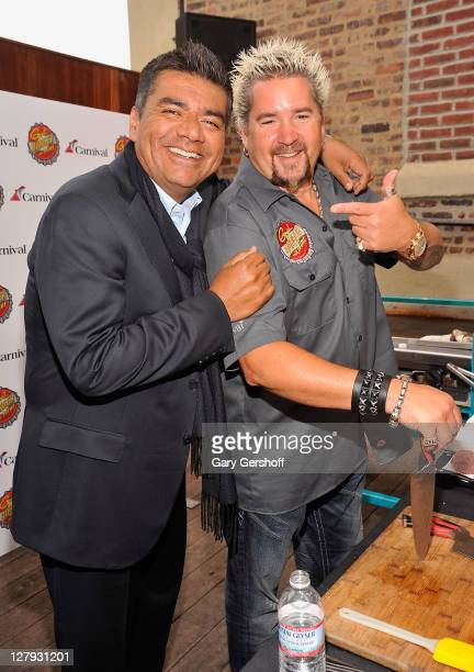 Actor/comedian George Lopez and celebrity chef Guy Fieri attend the Carnival Cruise Lines press conference at Hudson Terrace on October 3 2011 in New...