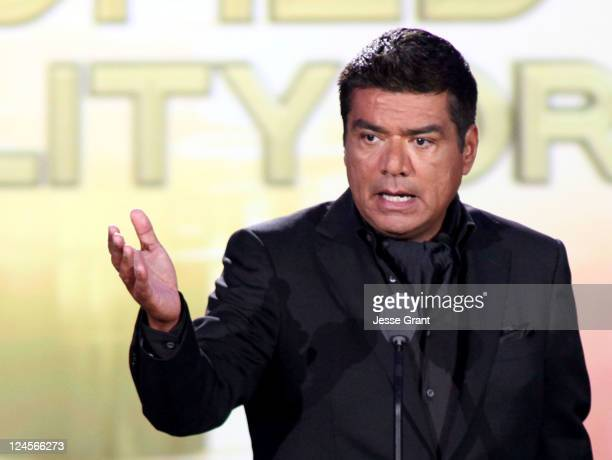 Actor/comedian George Lopez speaks onstage during the 2011 NCLR ALMA Awards preshow held at Santa Monica Civic Auditorium on September 10 2011 in...