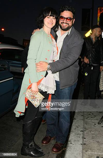 Actor/Comedian Horatio Sanz and Jenn Schatz arrive for the premiere of Cheech and Chong's Animated Movie at The Roxy Theatre on April 17 2013 in West...