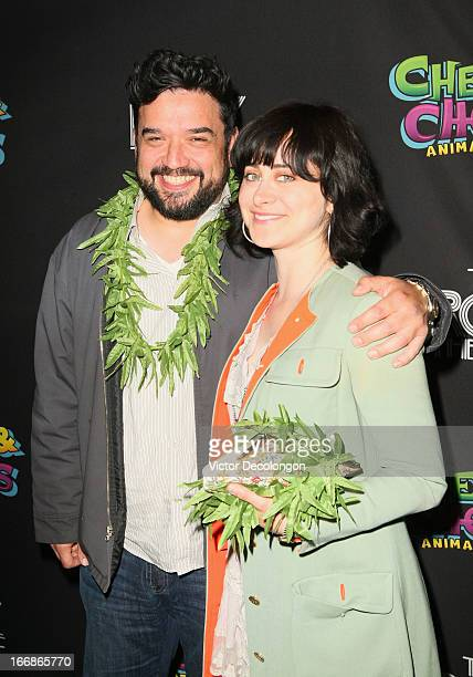Actor/Comedian Horatio Sanz and Jenn Schatz attend the premiere of Cheech and Chong's Animated Movie at The Roxy Theatre on April 17 2013 in West...